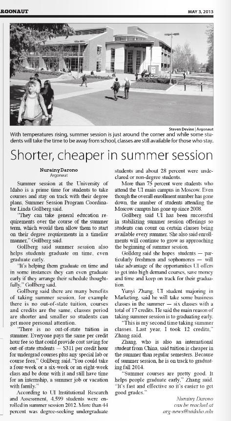 Shorter, cheaper in summer session | Nurainy Darono